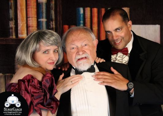Publicity photo with castmates from The Case of the Mysterious Cravat